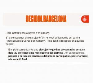 """""""Projecte: """"Un renovat poliesportiu pel barri a l'Institut Escola Coves d'en Cimany"""""""""""